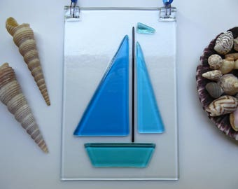 Fused glass suncatcher sailing boat decoration blue hanging lightcatcher birthday christmas child's teachers nautical gift stocking filler