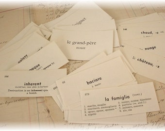 On Sale ITaLiAn, FrEnCh,EnGliSh Vocabulary cards set of 40 Mixed lot