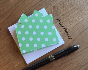 Green with White Polka Dots Gift Card Mini Note Cards with envelopes 8