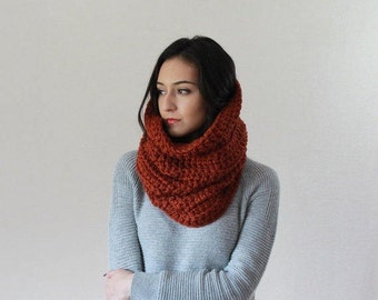 The Chartres - SPICE // Large Chunky Cowl. Thermal Textured Scarf. snood infinity scarf