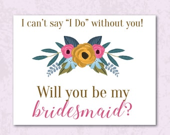 Will You Be My Bridesmaid Postcards - Instant Download