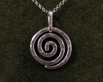 Silver Spiral Necklace / Sterling Eternity Pendant / Hammered Argentium Pendant with SS Chain & Clasp / Swirl / Whirling