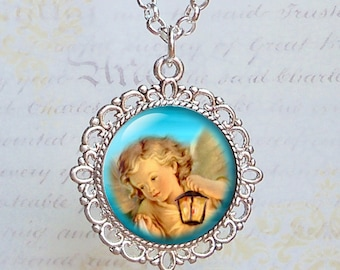 Guiding Light Angel -  Glass Pendant - Ornate Antique Silver Setting