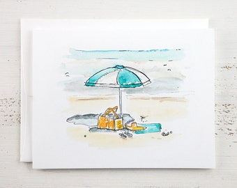 Beach Umbrella Note Card