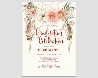 Dreamcatcher BOHO Senior Graduation Announcement Invitation - Custom Graduation Invitation - Printable or Printed - BOHO Graduation Invites