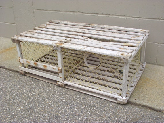 Old Wooden Lobster Trap Coffee Table Nautical Maine Beach