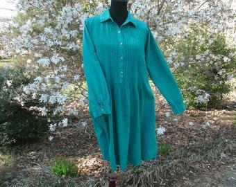 TUNIC DRESS shirtdress, Teal/Turquoise, Vintage 90s Grunge Boho Indie Hippie, handmade! festival minidress cotton top, pintuck front & back
