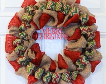 Christmas Burlap Wreath - Winter Wreath, Christmas Chevron Burlap Wreath, Merry Christmas Wreath, wreath for door, holiday burlap wreath