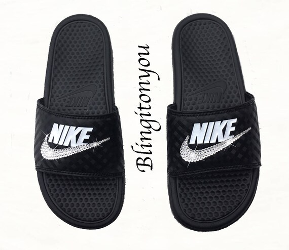 New Women's Swarovski Nike Benassi Slide Sandals Customized with Clear  Swarovski Crystal Rhinestones   Nike Bling Sandals-Swarovski Sandals