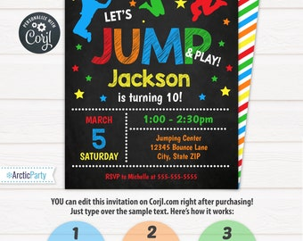 Party invitations etsy jump invitation bounce house birthday invitation jump party invitation edit at home now stopboris Gallery