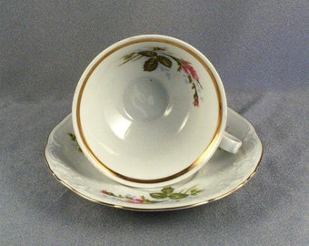 Vintage Cup and Saucer // Made in Poland // Rosebuds // Rose in Bloom // Porcelain // Fine China