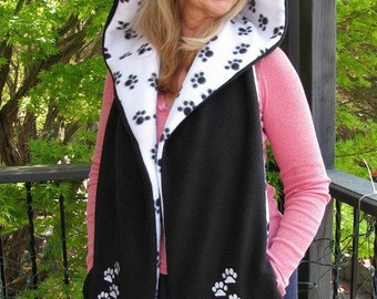 Paw Print Hooded Scarf with Pockets - Black and White