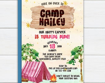 Girls Camping Party Invitation, Camp Out Glamping Birthday Party, Outdoor Adventure Summer Camp, Backyard Camping Printable Invite