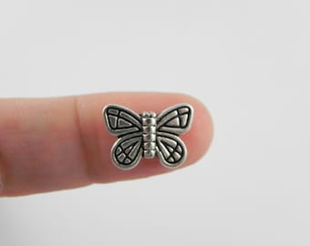 20 Butterfly Beads - Antiqued Silver - 10mm x 14mm - double sided