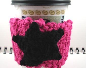 SALE - Hot Pink with Black Star Crocheted Coffee Cozy (SWG-B02)
