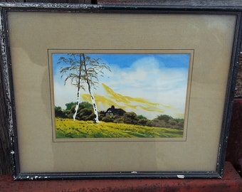 Original Early 20th Century Vintage Landscape Yellow Flowers.