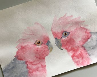 "Australian Native Fauna Watercolour Print - ""Happy Valentines"" - Australian birds; Pink and Grey Galah; A5"