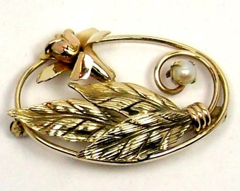 Vintage Carl Art Brooch Gold Filled Oval with Flower, Leaves, Faux Pearl