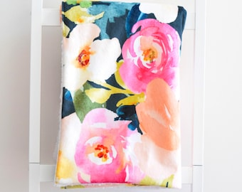 Sherpa Cuddle Blanket - Portadown Watercolor Floral, Peach and Pink Flowers on Navy
