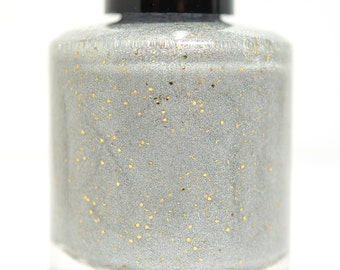 Is There A God? - custom Addams Family inspired silver holographic glow in the dark gold micro-shreds glitter nail polish
