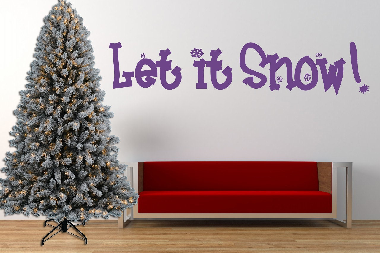 Christmas Quotes And Sayings Glitter Sticker Decal: Let It Snow Christmas Quote Vinyl Wall Art Sticker Decal