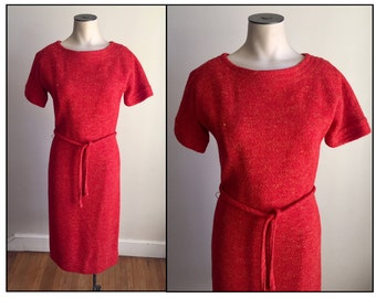 Vintage 1960s Anne Fogarty Misses' Orange Wool Dress  XS 0 2