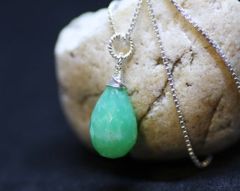Natural Green Chrysoprase Pendant Solid Sterling Silver , Wire Wrapped , Healing Gem , 18th Anniversary , Ships From Canada