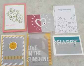 Assorted Greeting Cards - lot of 6 Homemade w/envelopes