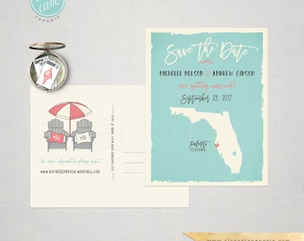 Save the Date Postcard Destination Florida - adirondack beach chairs Substitute your State or Country US state map DEPOSIT PAYMENT