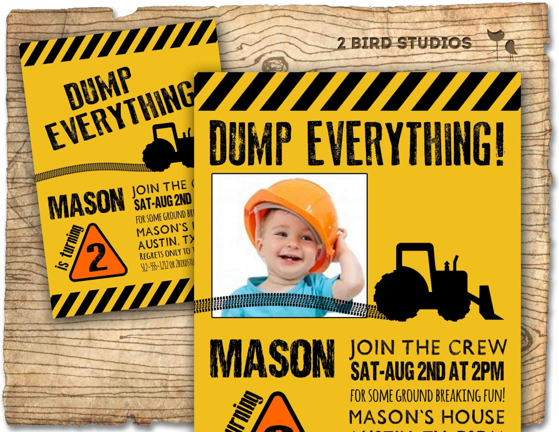 Construction Birthday Party Invitation / invite Personalized