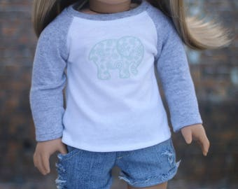 Elephant Tee | Baseball Style with Mint Paisley Elephant Graphic Long Sleeve for 18 Inch Doll