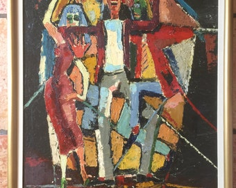 Oil on Canvas Painting Modernist Three Dancing Figures 1970's? Unsigned
