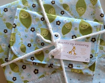 Blue Peas In A Pod Print and Blue, White & Gray Polka Dot Flannel Receiving Blanket/Burp Cloth Set - Handmade - Baby Gift - Baby Shower Gift
