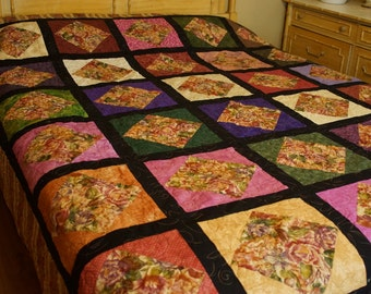 Queen sized Square in Square Quilt