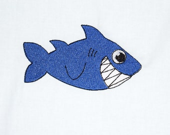 Instant Download:  Smiling Shark Machine Embroidery Design 5 sizes