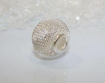 Silver Pearl decoration NET, 20.00 diameter button. (4755395)