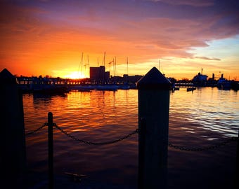 Sunset on the Norfolk Virigina Waterfront Photograph Print Art, Dock, Boating, Water, Photography, Nautical Home Decor, Wall Art,