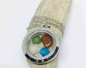Rare Blue Sea Glass Locket For Women, Bridesmaid Locket, Sea Glass Pendant, Sea Glass Jewellery, Sea Glass Jewelry, Gift For Her