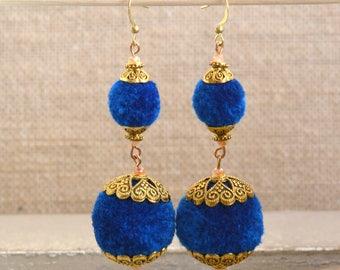 Pom Pom Earrings, Pom Pom Jewellery, Lightweight Earrings, Boho Jewerly, Statement Earrings, Colorful Jewelry,  Brass End Caps, BS17-1125A