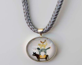 Animal Tower Cabochon Necklace