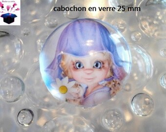 1 cabochon clear 25 mm round