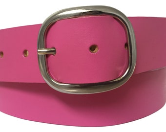Cosmic Pink Leather Belt Strap - Full Grain Leather