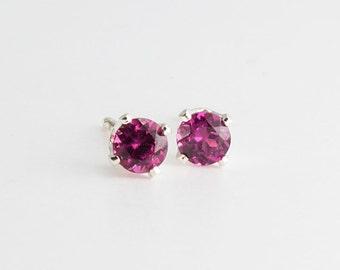 Red Rhodolite Stone Earrings, Stone Studs, Handmade Earrings, Post Earrings, Stud Earrings, Sterling Silver, Minimalist Jewelry, 3