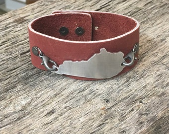 Red Leather Cuff Bracelet - Kentucky Bracelet - Kentucky Jewelry - Red Leather Bracelet