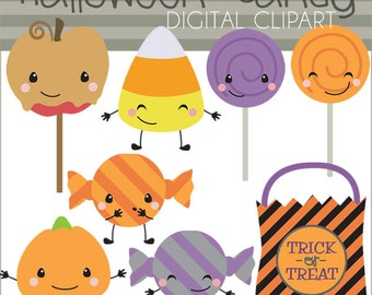 Halloween Clipart Halloween Candy -Personal and Limited Commercial Use- candy corn, kawaii candy, trick or treat, Halloween Clipart