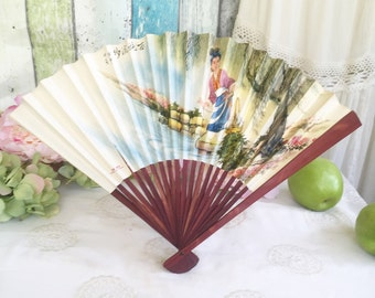 Vintage Bamboo Asian Paper Ladies' Hand Fan, Geisha, Folding, Japanese, Chinese, Floral, decorative display wall art Halloween Costume