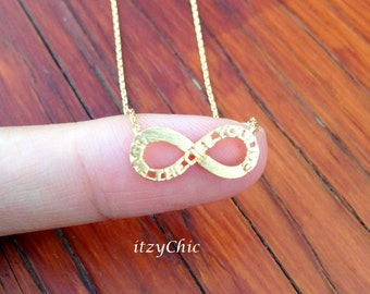 Tiny Infinity Necklace in Gold, Bride Necklace, Wedding Jewelry