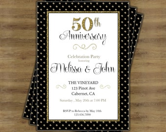 50th Anniversary Invitations Printable Black Gold Fiftieth