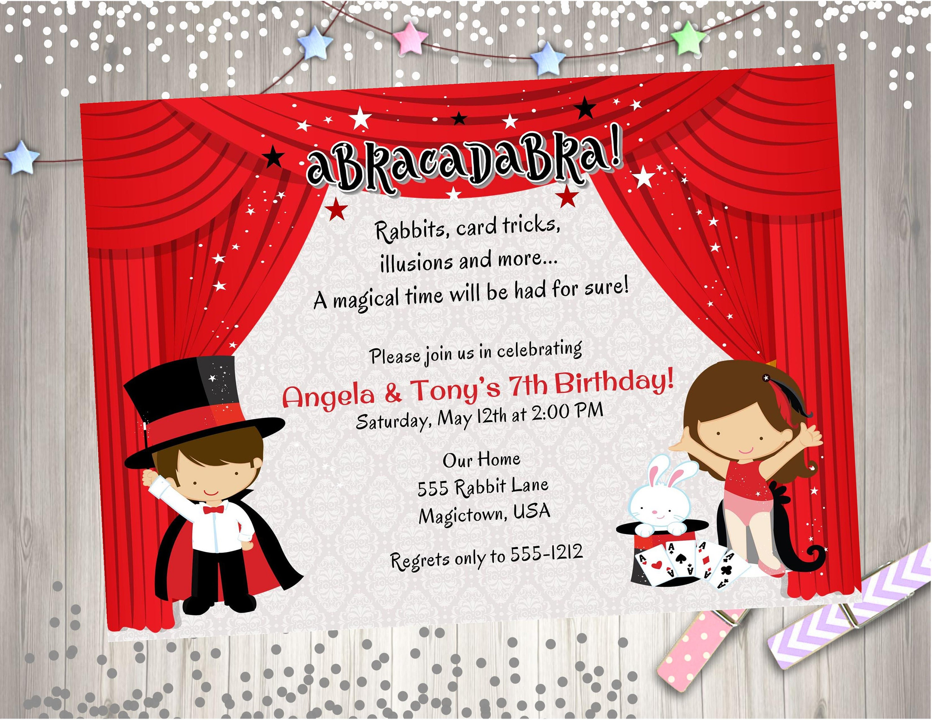 Magic Show Birthday Party Invitation invite Magician Birthday