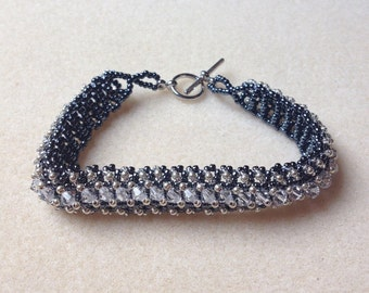 Beaded Swarovski Crystal Bracelet-Steel Grey-8 in.